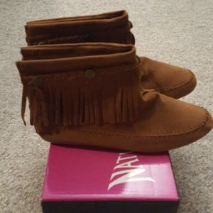Faux suede fringed moccasins